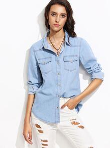 Blue Lapel Pockets Denim Shirt