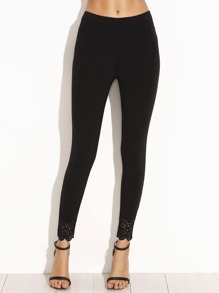 Black Laser Cut Scallop Hem Leggings