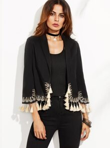 Black Contrast Tassel Trim Open Front Embroidered Blazer