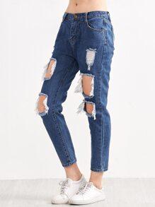 Blue Distressed Ripped Denim Jeans