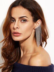 Silver Chain Fringe Ear Cuff