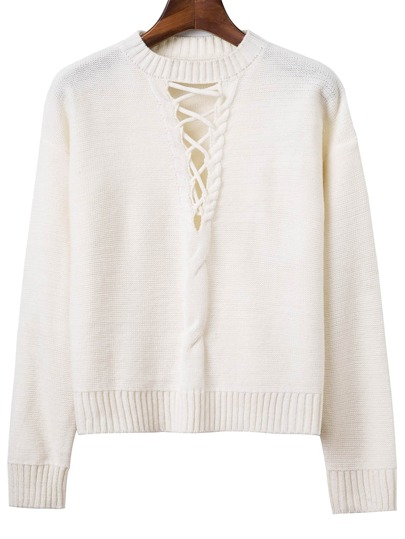 White Criss Cross Ribbed Trim Drop Shoulder Sweater