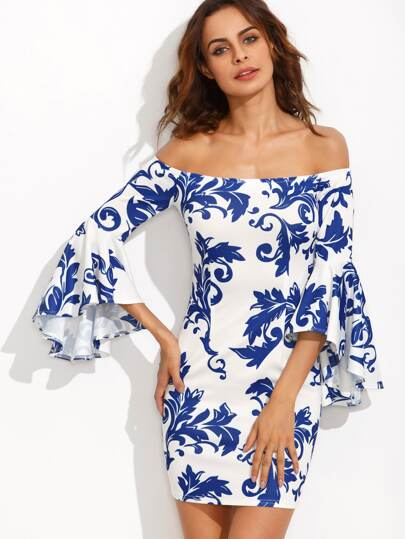 Porcelain Print Bardot Fluted Sleeve Dress