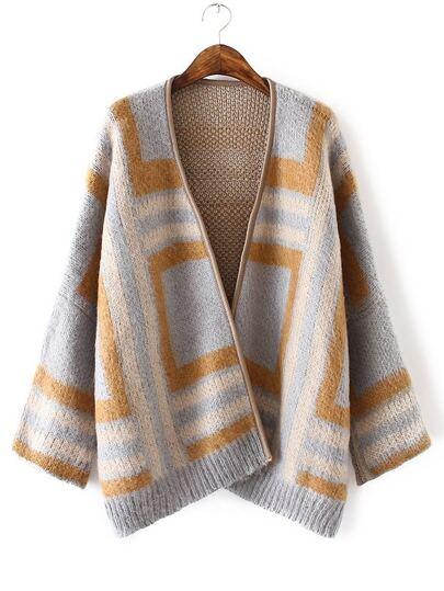 Khaki Contrast Geo Pattern Cardigan Coat