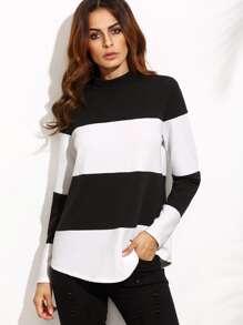 Contrast Wide Stripe Mock Neck Textured Sweatshirt