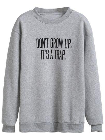 Grey Slogan Print Drop Shoulder Sweatshirt
