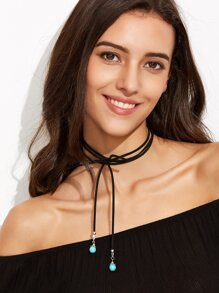 Black Bow Turquoise Wrap Choker Necklace