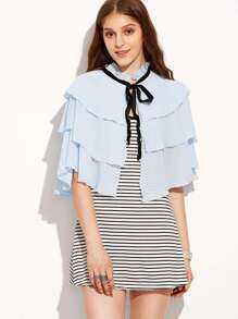 Blue Tiered Self Tie Crop Blouse