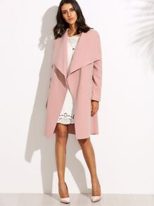 Pink Drop Shoulder Drape Collar Wrap Coat