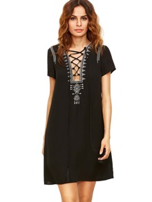Black Lace Up Print Front Shift Dress