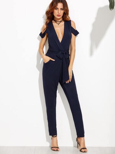 Combi pantalons col v plongeant avec lacet bleu marine french shein sheinside - Combi pantalon bleu marine ...