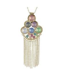 Long Chain Rhinestone Flower Necklace