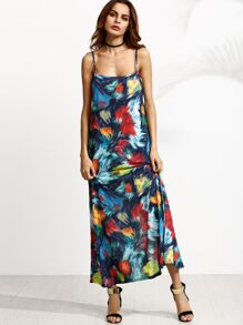 Abstract Print Spaghetti Strap Maxi Dress