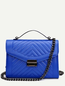 Blue Quilted Envelope Bag With Chain