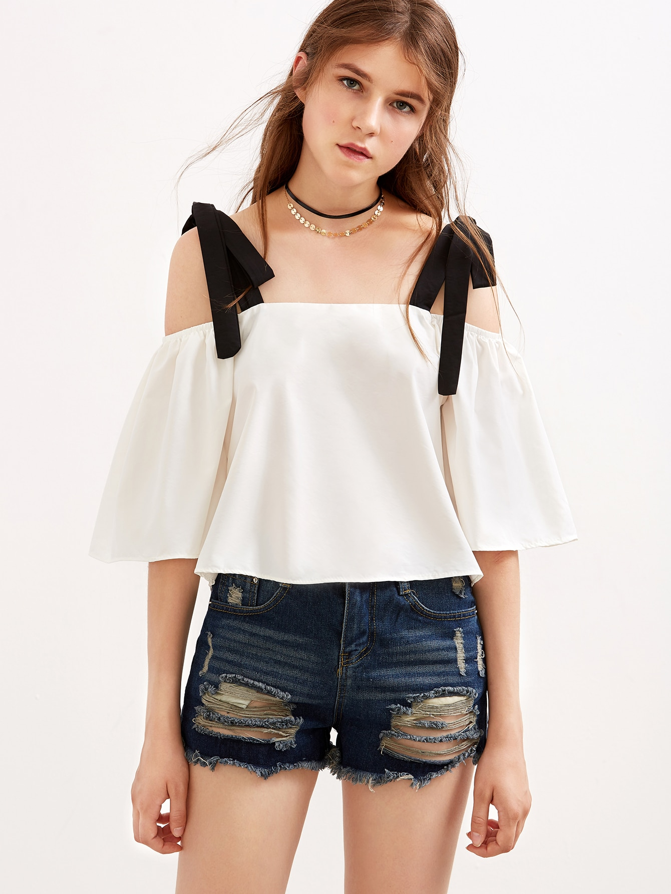 white cold shoulder contrast bow tie top shein sheinside