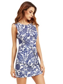 Porcelain Print Tank Mini Dress