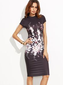 Black Floral Cap Sleeve Sheath Dress