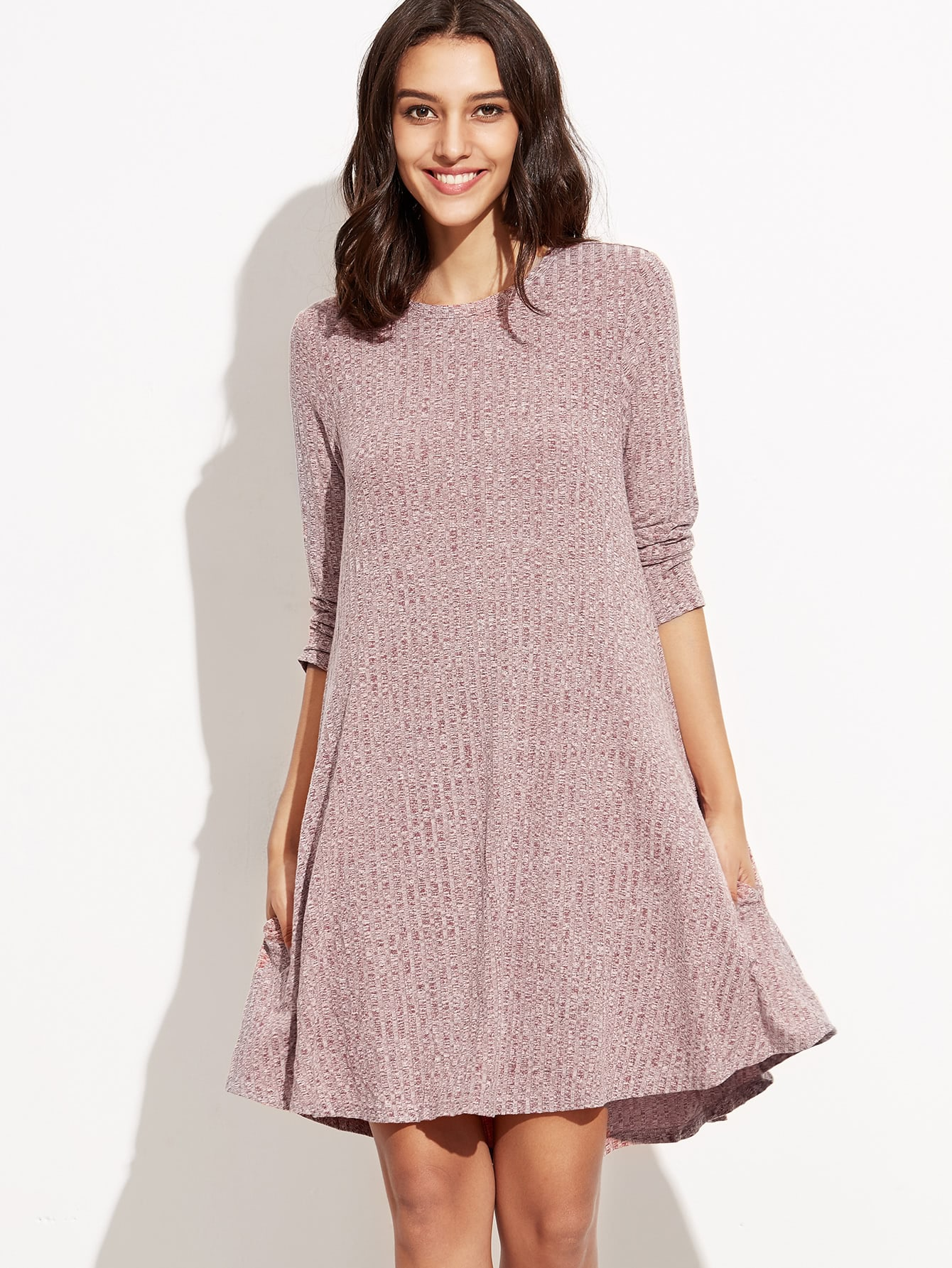 Burgundy Marled Knit Ribbed Swing Dress dress160830711