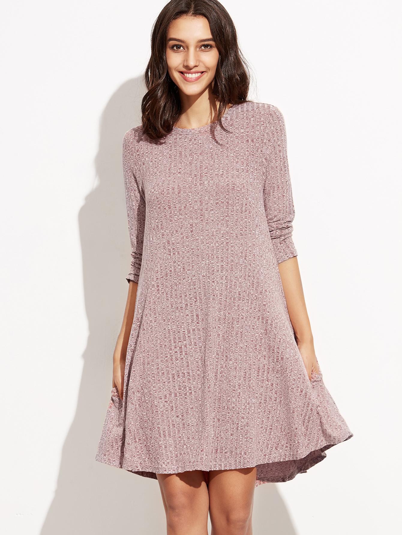 Burgundy Marled Knit Ribbed Swing Dress dress160830711