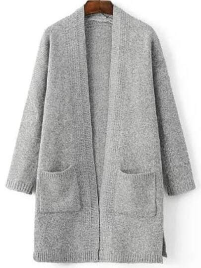 Light Grey Marled Knit Split Side Longline Sweater Coat With Pocket