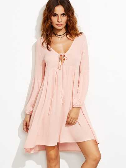 Plunge Neckline Self Tie Lantern Sleeve Dress