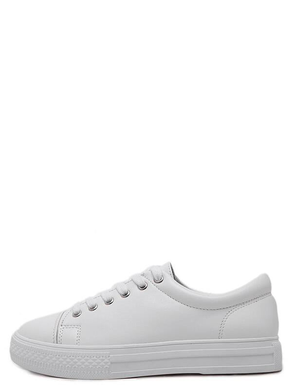 Фото White Round Toe Lace Up Sneakers. Купить с доставкой