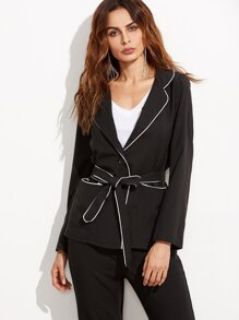 Black Belted Blazer With Contrast Piping