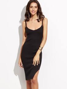 Black V Neck Side Slit Ribbed Knit Cami Dress
