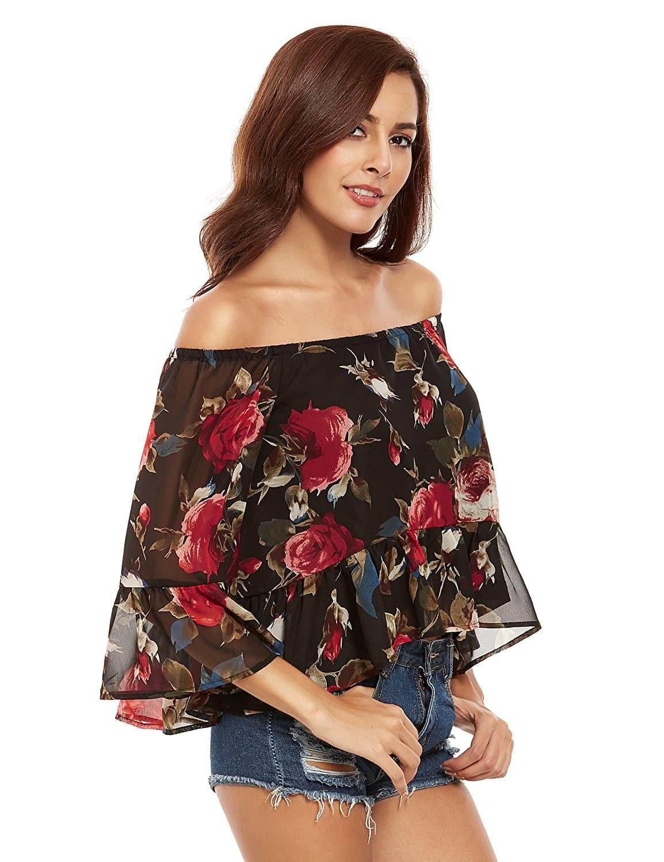 Multicolor Floral Off The Shoulder Blouse blouse160725757