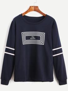 Navy Striped Letter Print Sweatshirt