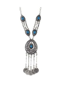 Blue Tibetan Style Silver Color Imitation Turquoise Long Statement Necklace