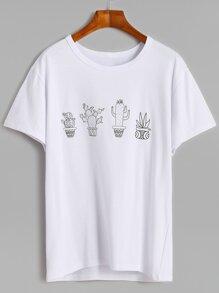 T-Shirt mit Kaktus Druck - weiß