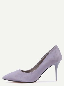 Grey Faux Suede Pointed Toe Pumps