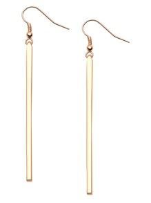 Gold Plated Long Straight Bar Drop Earrings