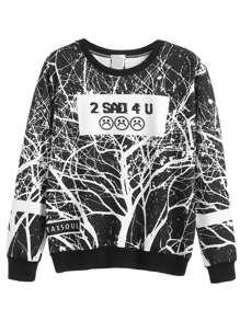 Black White Emoji Print Sweatshirt