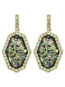 At-Gold Rhinestone Geometric Statement Stud Earrings