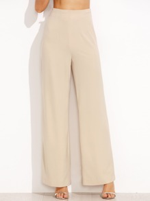 Apricot High Waist Zipper Side Straight Pants