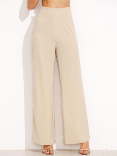 Apricot High Waist Zipper Side Straight Pants
