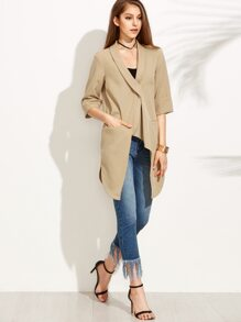 Camel Asymmetric Shawl Lapel Curved Hem Duster Coat