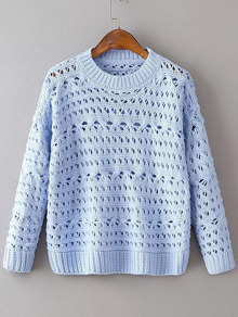Blue Hollow Out Drop Shoulder Loose Sweater