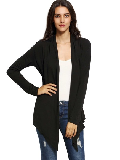 Open Front Hanky Hem Cardigan Sweater