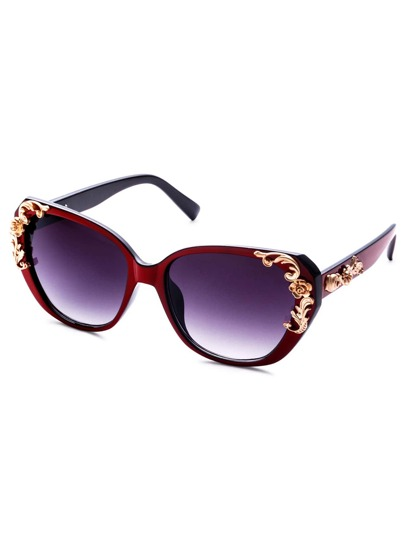 Burgundy Floral Frame Large Lens Sunglasses