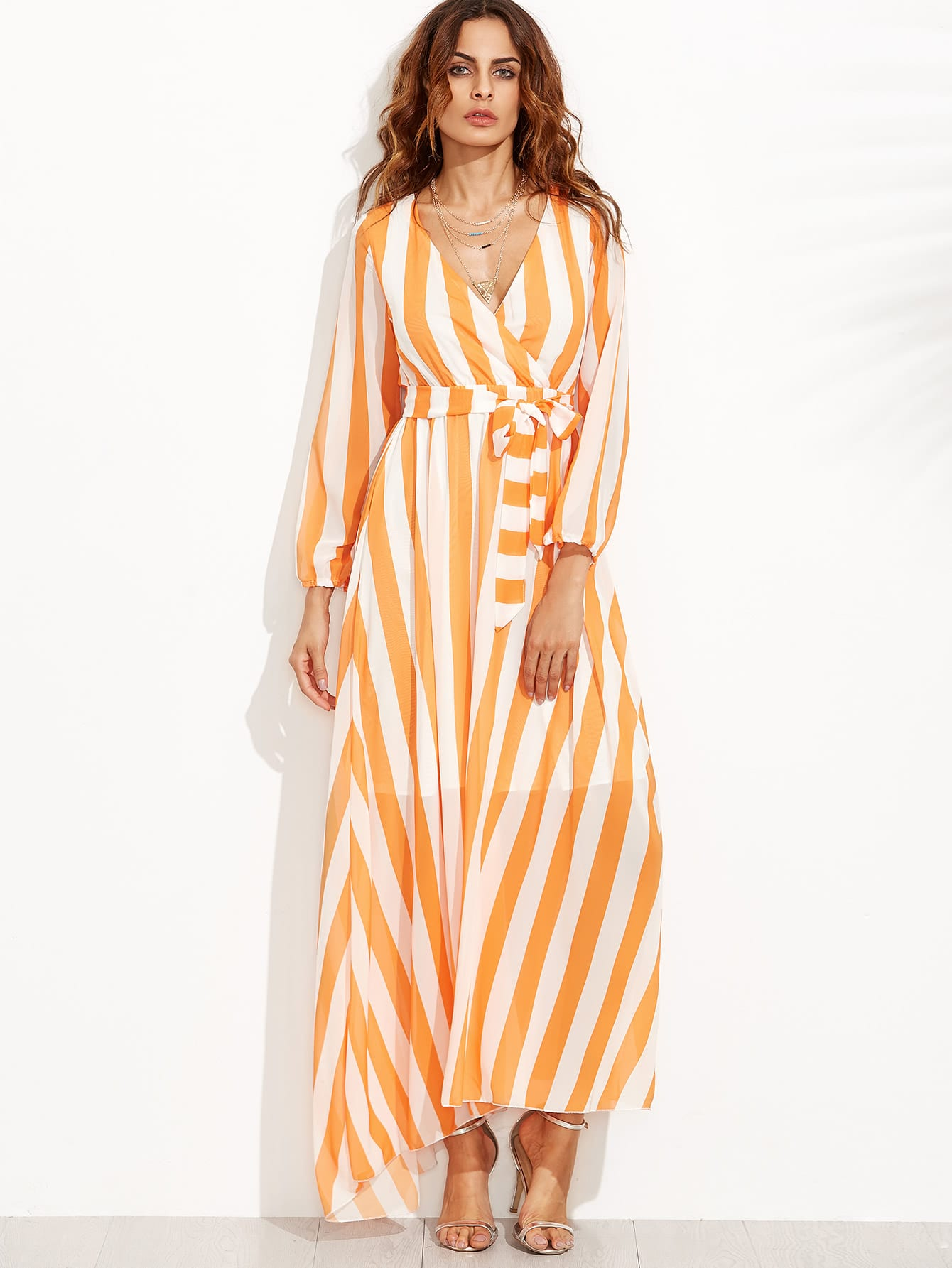 Vertical Striped Deep V Neck Self Tie Dress dress160801101