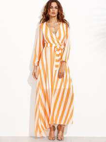 Block Stripe Plunge Obi Tie Wrap Dress
