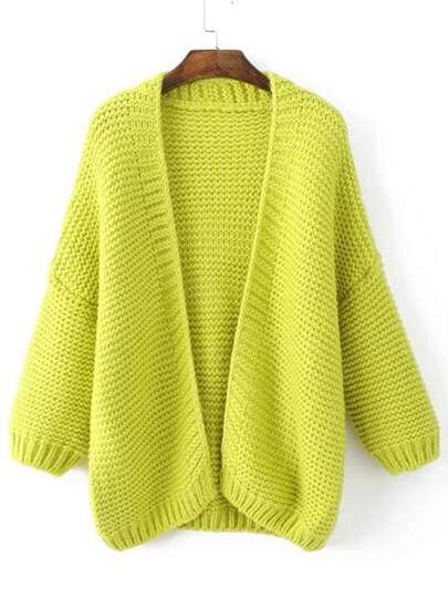 Yellow Drop Shoulder Thick Cardigan