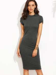 Heather Grey Crew Neck Sheath Dress