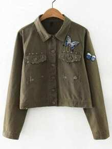 Army Green Butterfly Patch Distressed Denim Jacket