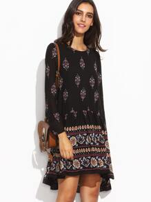 Black Vintage Print Keyhole Back Shift Dress