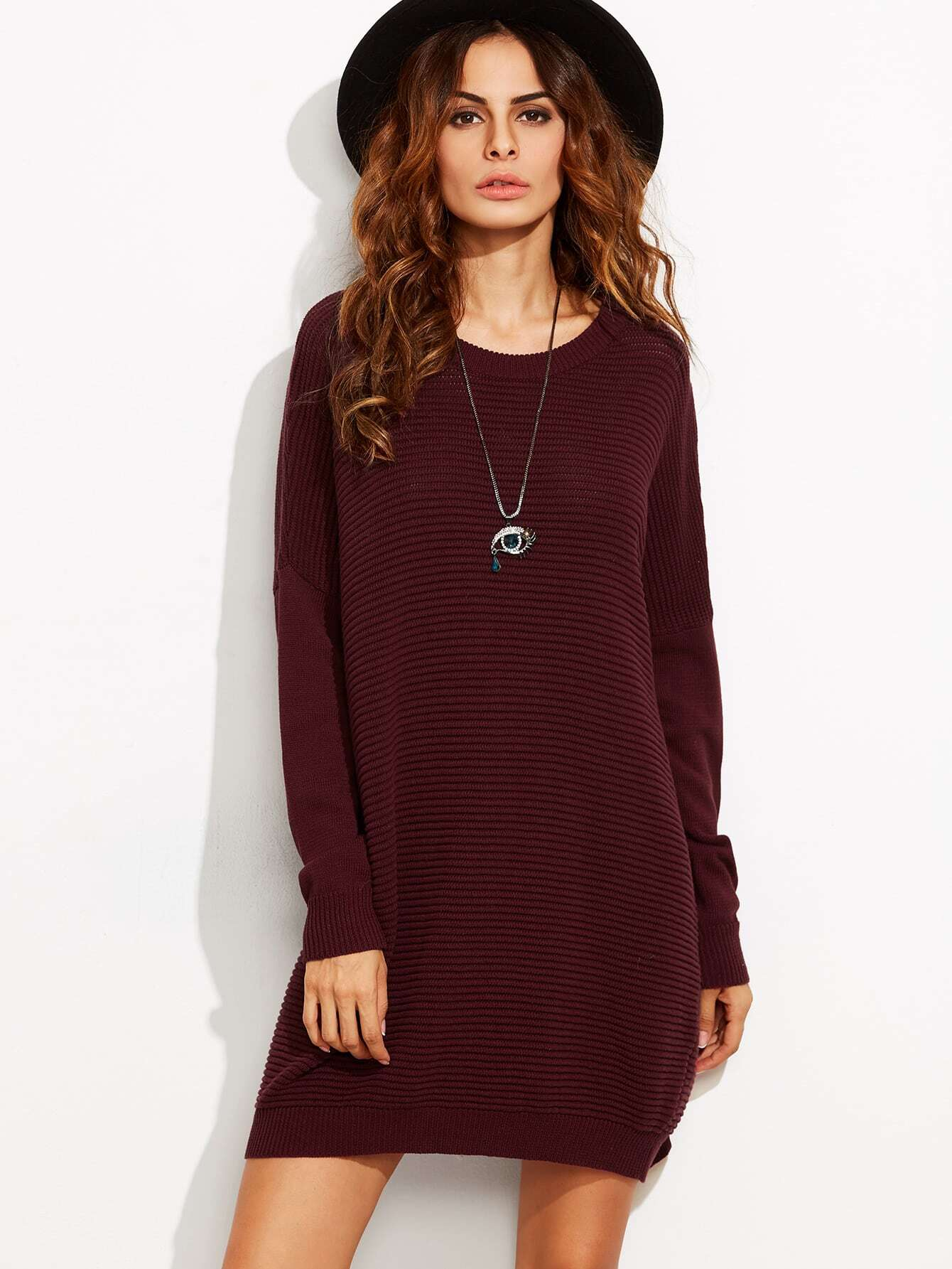 Burgundy Drop Shoulder Ribbed Cocoon Sweater Dress dress160812707