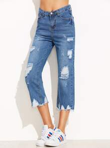 Blue Ripped Raw Hem Jeans